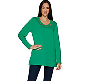 Quacker Factory Grommet Long Sleeve Tunic Top - A299511