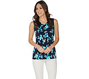 Susan Graver Printed Liquid Knit V-Neck Tank Top - A303411