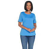 Denim & Co. Scoop-Neck Short Sleeve Burnout Top with Lining - A305911