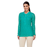 Susan Graver Weekend Cotton Nylon Stretch Lace Top - A232812