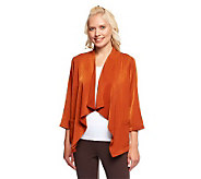 Linea by Louis DellOlio 3/4 Sleeve Drape Front Jacket - A235312