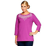 Bob Mackies Crystal Knit Encrusted Ponte Knit Top - A237612