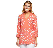 Liz Claiborne New York 3/4 Sleeve Polka Dot Print Tunic - A251212