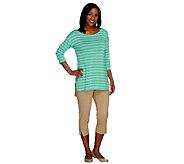 Women with Control Stripe Knit Tunic & Side Slit Capri Set - A252812