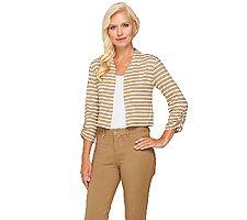 Liz Claiborne New York 3/4 Sleeve Striped Knit Shrug
