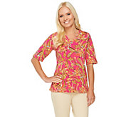 Denim & Co. Perfect Jersey Paisley Print V-Neck Top - A253612