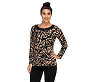 Susan Graver Printed Liquid Knit Top w/ Embellished Scoop Neck - A258612