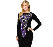 Bob Mackies Long Sleeve Printed Front Panel Knit Top - A259412