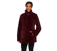 Dennis Basso Textured Faux Fur Coat - A260412