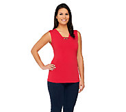 Susan Graver Liquid Knit Tank with Chain Trim Detail - A261212