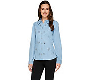 Joan Rivers 25th Anniversary Embellished Denim Shirt - A263212