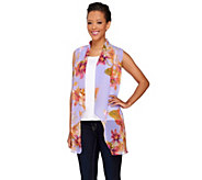Susan Graver Printed Sheer Chiffon Cascade Front Vest - A263812
