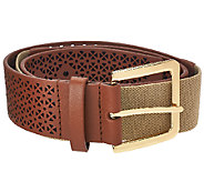 Isaac Mizrahi Live! Perforated Leather Strap Belt - A264212