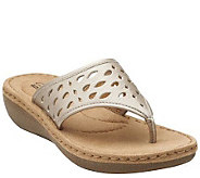 Clarks Perforated Leather Thong Sandals - Trista Zest - A264612