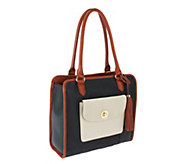 As Is Isaac Mizrahi Live! Bridgehampton Color-Block Leather Satchel - A267512