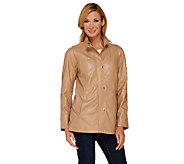 Dennis Basso Faux Leather A-Line Jacket with Raglan Sleeves - A268812