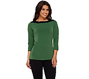 Susan Graver Liquid Knit Color-Block 3/4 Sleeve Top - A269212