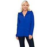 Quacker Factory Waffle Knit Zip Front Hoodie with Stud Detail - A270512