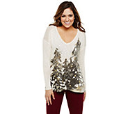 Bethany Mota Holiday Tree Printed Knit Top with Hi-Low Hem - A273812