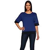 Studio By Denim & Co. Elbow Sleeve Color-Block Knit Top - A274912