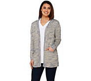 C. Wonder Open Front Marled Novelty Yarn Long Sleeve Cardigan - A275112