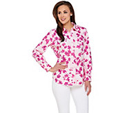 Susan Graver Printed Stretch Cotton Long Sleeve Button Front Shirt - A275212
