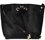 H by Halston Saffiano Leather Drawstring Handbag - A276512