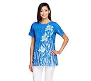 As Is Bob Mackies Floral Print Short Sleeve Tunic Top - A277812