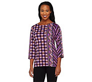 As Is Bob Mackies Indonesia Print 3/4 Sleeve Knit Tunic - A277912