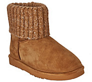 As Is Lamo Suede Water Resistant Boots with Sweater Cuff - Empire - A278412