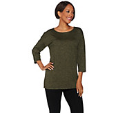 H by Halston Boatneck 3/4 Sleeve Knit Top - A279112