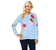 As Is Quacker Factory Think Pink Sparkle Floral Printed Cardigan - A279512
