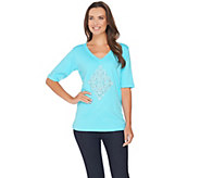 Quacker Factory Scroll Embellished Elbow Sleeve T-shirt - A280812
