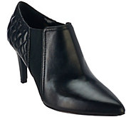 As Is Isaac Mizrahi Live! Leather Booties with Quilting Detail - A281012
