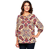 As Is Liz Claiborne New York 3/4 Sleeve Paisley Print Tunic - A285912