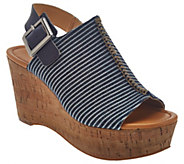 As Is Marc Fisher Striped Denim Open-toe Wedges - Sinthya - A286512