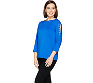 Susan Graver Butterknit 3/4 Split Sleeve Top - A286712
