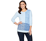 H by Halston Engineered Grid Print French Terry Pullover Top - A287112