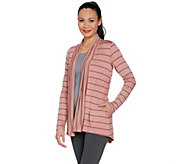 LOGO by Lori Goldstein Mixed Stripe Open Front Cardigan - A288012