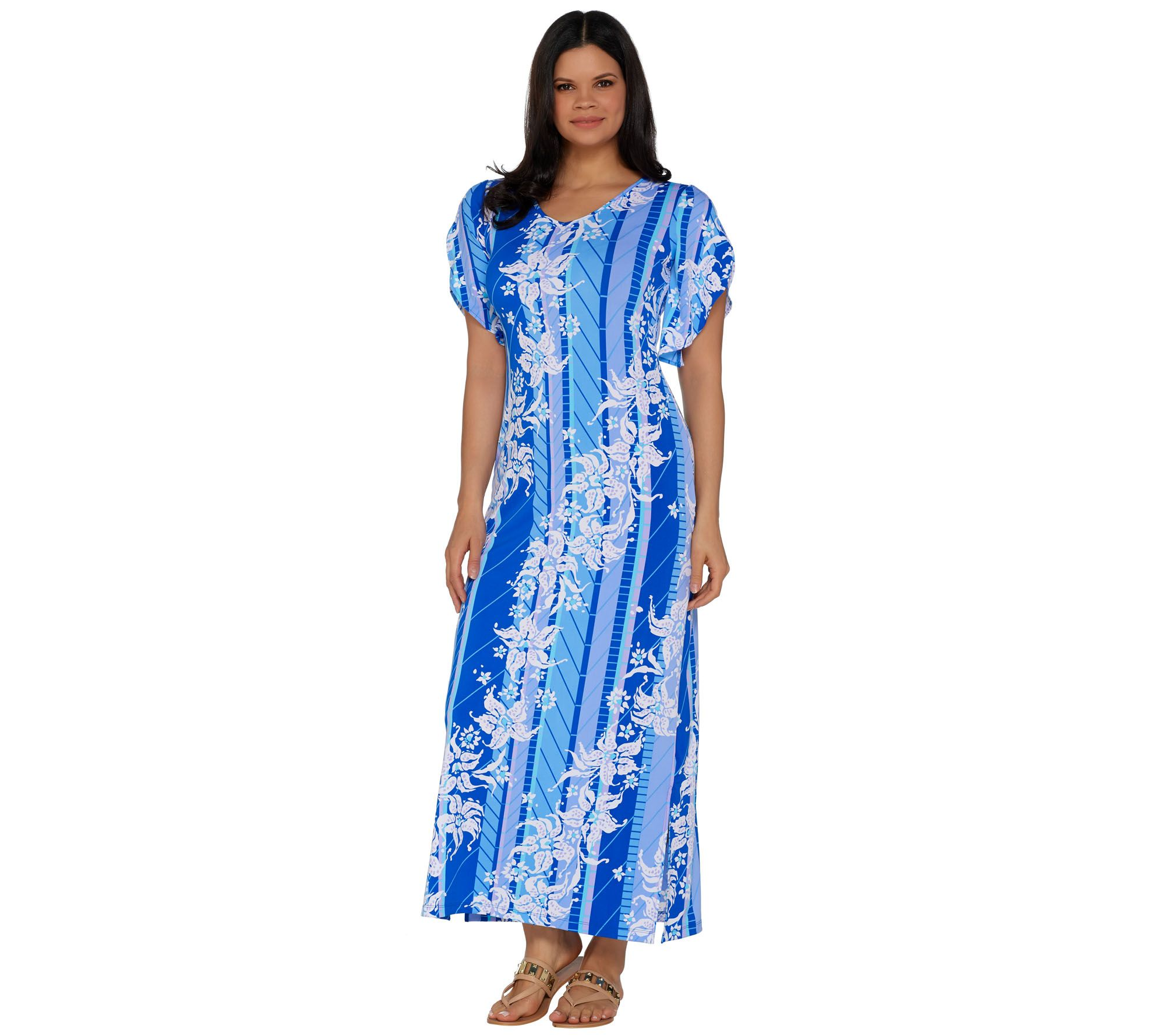 Christmas dress attire for age 57 - Bob Mackie S Floral Printed Tulip Sleeve Knit Maxi Dress A290712