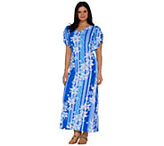 Bob Mackies Floral Printed Tulip Sleeve Knit Maxi Dress - A290712