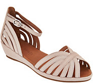Gentle Souls Leather or Suede Peep-toe Wedge Sandals - Leah - A291812