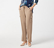 Susan Graver Regular Liquid Knit Pull-On Cargo Pants - A292312