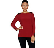 Susan Graver Textured Liquid Knit Top with Printed Trim - A293612