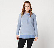 Denim & Co. Active Heather Grey Striped Waffle Knit Pullover - A300812