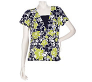 Susan Graver Liquid Knit Floral Printed Top with Insert - A198713