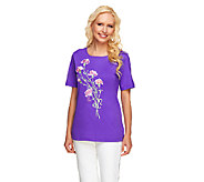 Bob Mackies Floral Embroidered Knit T-Shirt - A201313