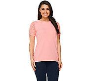 Denim & Co. Perfect Jersey Short Sleeve T-shirt with Crochet Detail - A214613