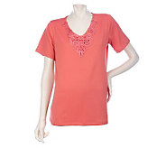 Susan Graver Butterknit Short Sleeve Top with Soutache Detail - A215713