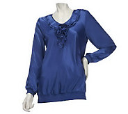 Susan Graver Charmeuse Blouse with Ruffle Neckline & Long Sleeves - A221313